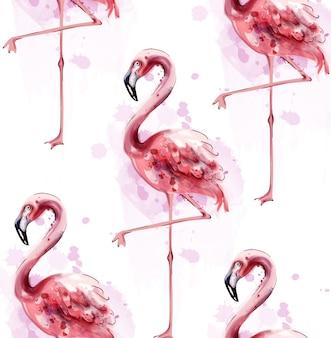 Akwarela wzór flamingo