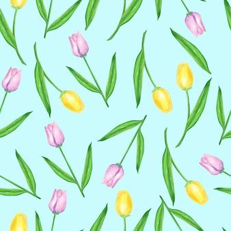 Akwarela wzór tulipanów