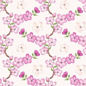 Akwarela wzór wiśni