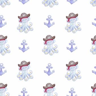 Akwarela wzór z ośmiornicą i kotwicą pirat ośmiornicy