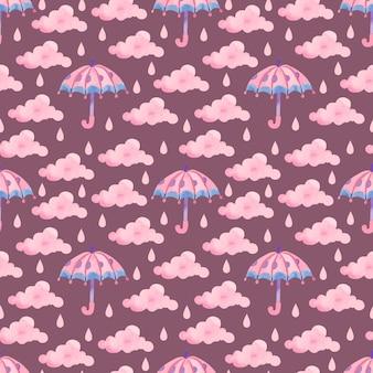 Akwarela wzór z różowym parasolem i kroplami deszczu na fioletowym tle