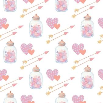 Akwarela wzór z sercami i strzałami na walentynki