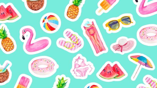 Akwarela wzór z uroczymi letnimi obiektami wakacyjnymi jedzeniem napojem owocami flamingami i kolekc...