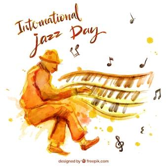 Akwarela z pianistą jazzowym tle