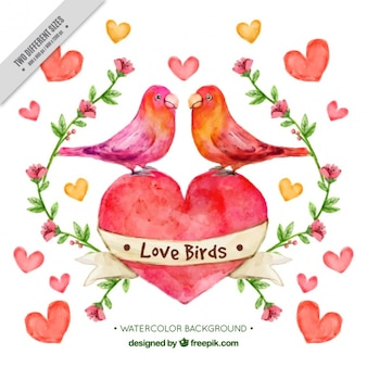 Akwarela z ptakami w miłości z serca tle