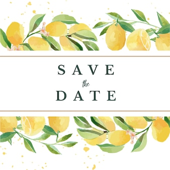 Akwarela zapisz datę szablon kwiatowy rama cytryny