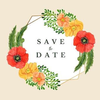 Akwarela zapisz datę złota rama szablon kwiat maku