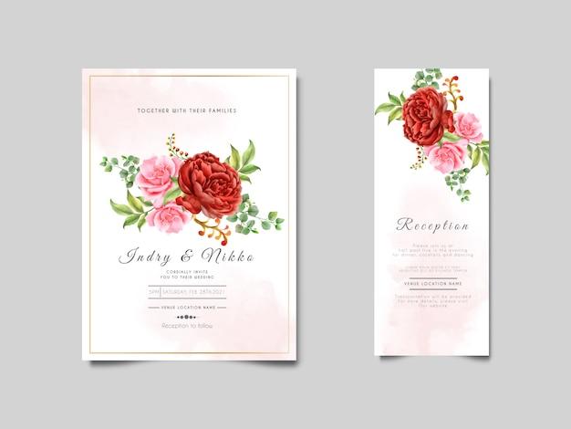 Akwarela Zaproszenia ślubne Z Uroczym Kwiatem I Liśćmi Premium Wektorów