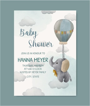 Akwarela zaproszenie na baby shower
