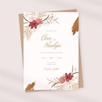Akwarela zaproszenie na ślub boho