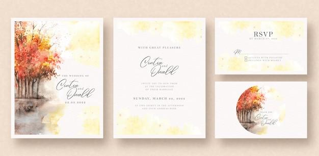 Akwarela zaproszenie na ślub jesień krajobraz