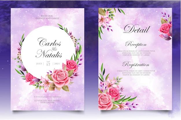 Akwarela zaproszenie na ślub kwiatowy i liści szablon karty