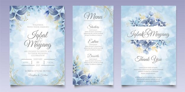 Akwarela zaproszenie na ślub kwiatowy i pozostawia szablon karty