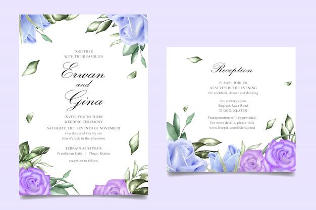 Akwarela zaproszenie na ślub kwiatowy szablon karty projektu