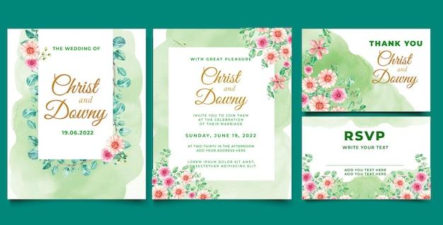 Akwarela zaproszenie na ślub liść eukaliptusa ilustracji wektorowych
