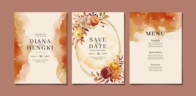 Akwarela zaproszenie na ślub szablon karty z jesiennym kwiatowym