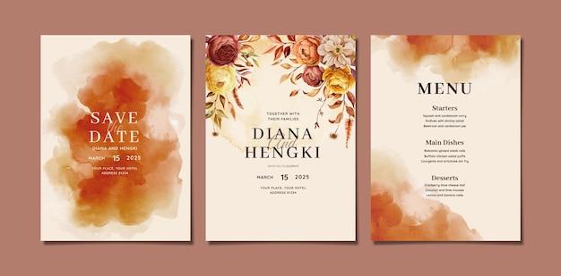 Akwarela zaproszenie na ślub z jesiennym kwiatowym