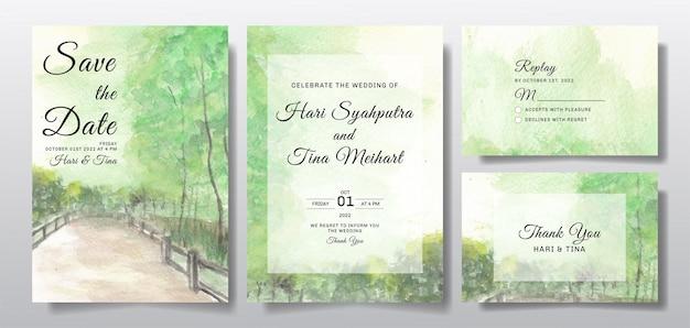 Akwarela zaproszenie na ślub z krajobrazem nieba i drzew