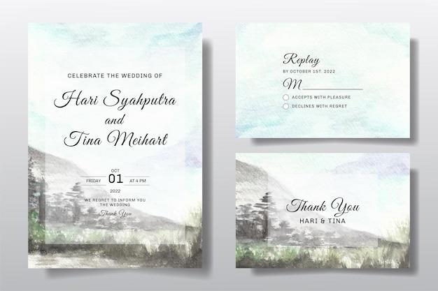 Akwarela zaproszenie na ślub z krajobrazem nieba i drzewa