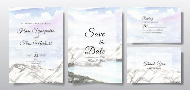 Akwarela zaproszenie na ślub z krajobrazem nieba i wzgórza