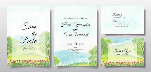 Akwarela zaproszenie na ślub z krajobrazem nieba, kwiatów i drzew