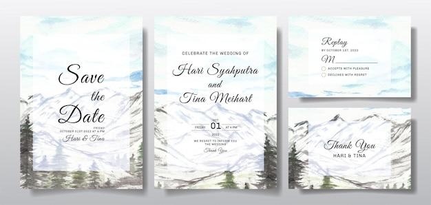 Akwarela zaproszenie na ślub z krajobrazem nieba, wzgórza i drzewa