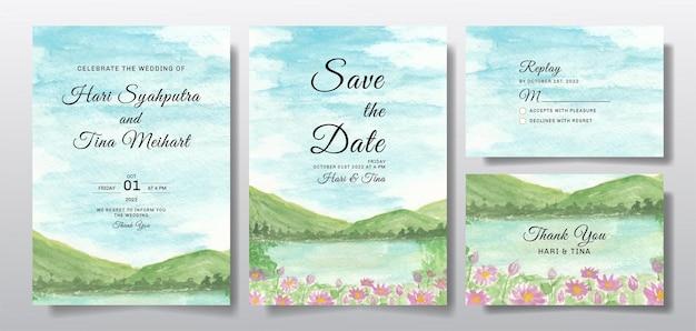 Akwarela zaproszenie na ślub z krajobrazem niebo i wzgórze