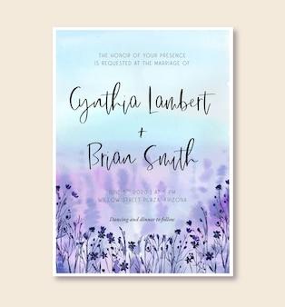 Akwarela zaproszenie na ślub z krajobrazem purple meadow