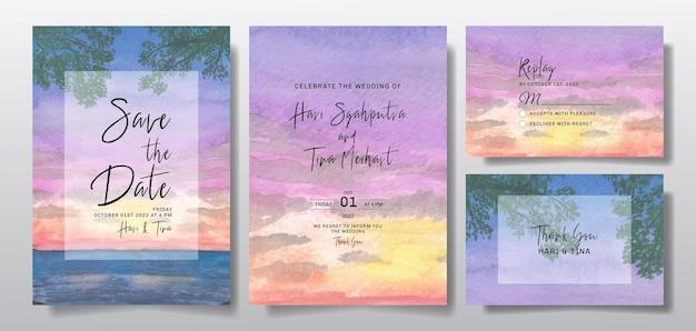 Akwarela zaproszenie na ślub z krajobrazem zachodu słońca