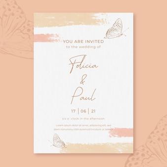 Akwarela zaproszenie na ślub z kwiatami i motylem