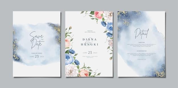Akwarela zaproszenie na ślub z kwiatowym