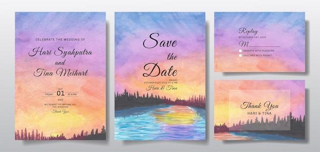 Akwarela zaproszenie na ślub z malowaniem pejzażowym nieba i drzewa