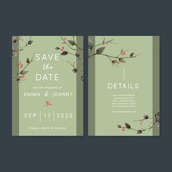 Akwarela zaproszenie na ślub z motywem lasu