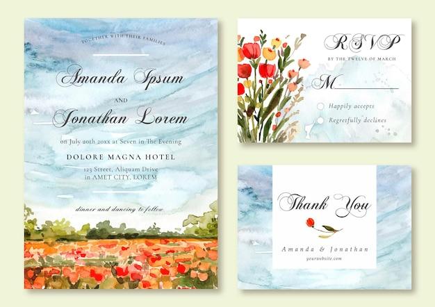 Akwarela zaproszenie na ślub z ręcznie malowanym kwiatowym krajobrazem natury
