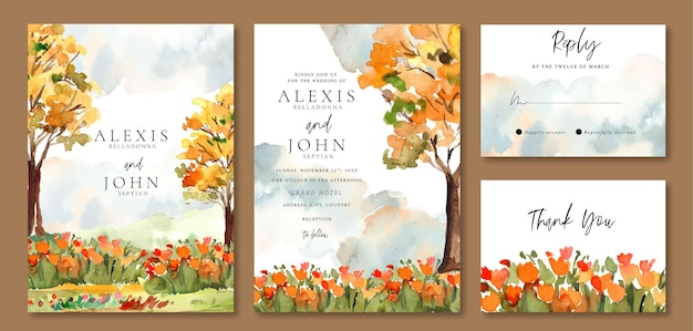 Akwarela zaproszenie na ślub z sezonowymi żółtymi jesiennymi drzewami i pomarańczowym kwiatowym polem