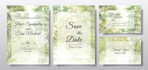 Akwarela zaproszenie na ślub z widokiem na krajobraz drzewa i rzeki