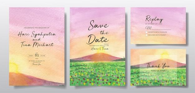 Akwarela zaproszenie na ślub z zachodem słońca i krajobrazem kwiatowym
