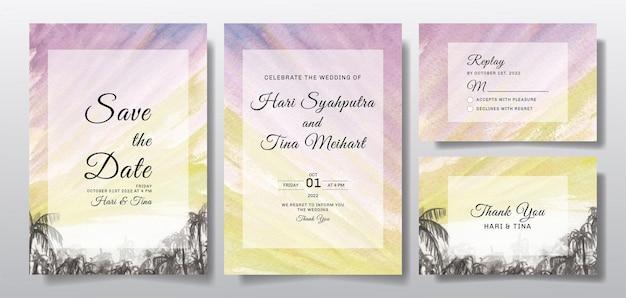 Akwarela zaproszenie na ślub z zachodem słońca w krajobrazie nieba i drzewa