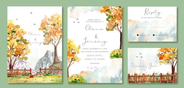 Akwarela zaproszenie na ślub z żółtymi jesiennymi drzewami