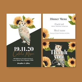 Akwarela zaproszenie na ślub ze słonecznikiem i sowami