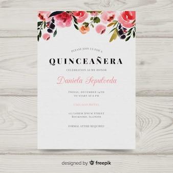 Akwarela zaproszenie quinceañera