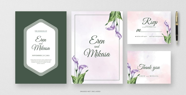 Akwarela zaproszenie zielony ślub z kwiatem lilii