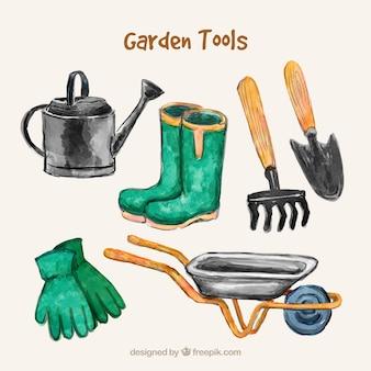 Akwarela zbiór narzędzia ogrodowe