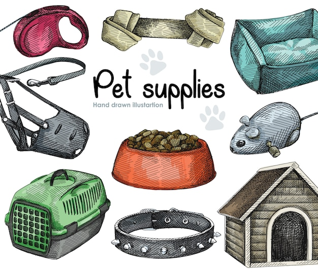 Akwarela zestaw akcesoriów dla zwierząt. obroża z kolcami, zwijana smycz dla psa, kaganiec (ochraniacz na zęby), drewniany buda dla psa, nosidełko, legowisko, wiązana kość; mysz-robot-zabawka; miska na karmę dla zwierząt domowych