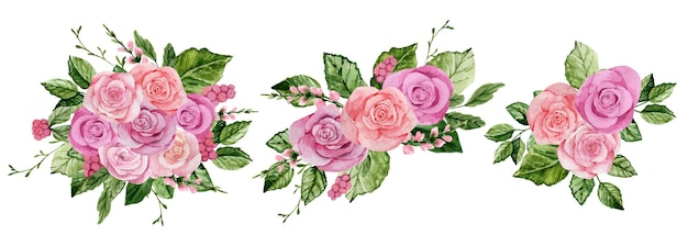 Akwarela zestaw bukietów różowych róż na białym tle
