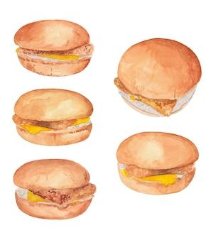 Akwarela zestaw burgerów rybnych z serem