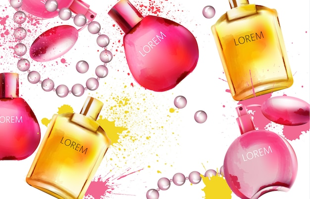 Akwarela zestaw butelek perfum