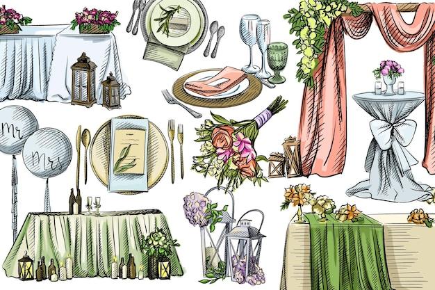 Akwarela zestaw dekoracji ślubnych.