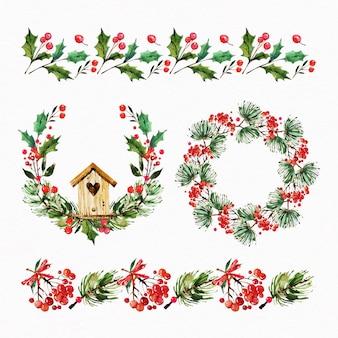 Akwarela zestaw dekoracji świątecznych