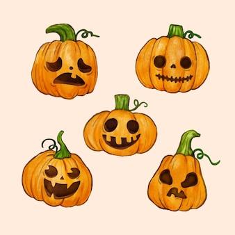 Akwarela zestaw dyni halloween